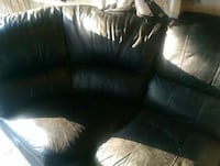 %100 leather couch curved