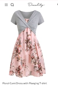 Dress and plunging t-shirt set grey and pink Bakersfield