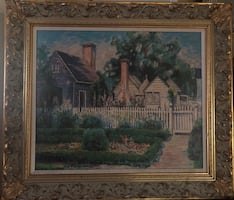 House in Williamsburg near trees painting with gold frame