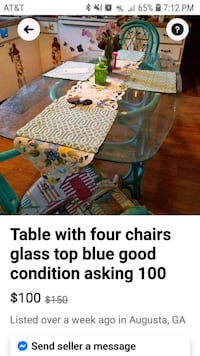 glass table with 4 chair