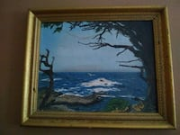 brown wooden framed painting of sea Lubbock, 79416
