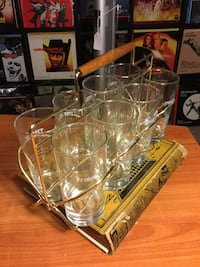 Mid Century Modern Bar Glass Caddy With Eight 1969 Timet Glasses Henderson, 89052