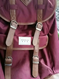 women's brown and maroon leather knapsack bag