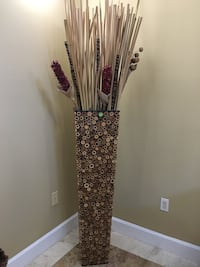4 ft Bamboo and wood vase with flowers