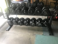 Super nice, Pro Style dumbbell set 15-90 with 3 solid iron racks!  Grayslake, 60030