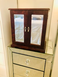 Mirrored Jewelry Storage with Removable Compartments & Bedazzled knobs Stamford, 06901