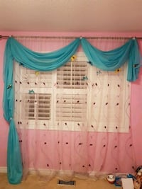 pink window curtain and teal valance Milton, L9T 0R4