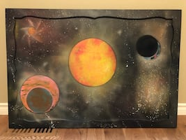 Galaxy painting on a mirror awesome3x4ft