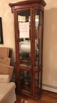 Brown wooden framed glass curio cabinet New York, 11228