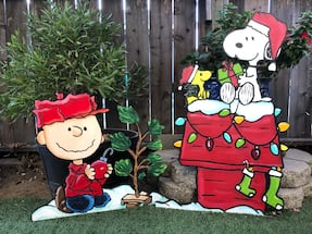 Charlie Brown Christmas Tree with Snoopy and Woodstock Yard Art