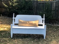 Handmade Bench painted farmhouse white and distressed Centreville, 20120