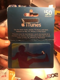 black and blue iTunes gift card $50 Niagara Falls, L2E 7G4