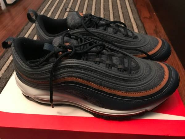 Nike Air Max 97 Premium qs Wool BlueNavyBrown New in Box Size 9