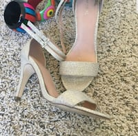 pair of silver open-toe ankle strap heels Fort Worth, 76107