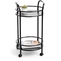 New 2 tier gray rolling serving push cart with round metal & wheels (office, kitchen, bar, display, storage, bathroom) 2253 mi