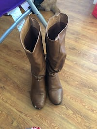 Pair of brown leather round-toe knee-high boots