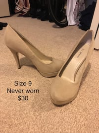 pair of gray suede platform stilettos 540 km