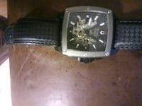 square silver chronograph watch with black leather strap Phoenixville, 19460