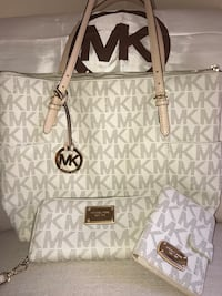 White and gray michael kors tote bag Vacaville