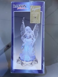 "Angel with lighted blue base, 10.5"" tall x 6"" diameter new in box"