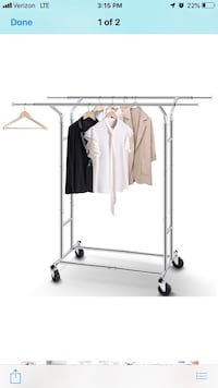2 Sturdy Double-sided Rolling Clothes Racks. Holds alot of clothes! Omaha, 68154