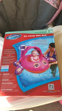 pink and purple Swimways sun canopy baby boat box North Olmsted, 44070