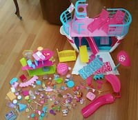 assorted plastic toys and doll house Springfield