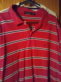 red and black stripe print polo shirt Unionville, 37180