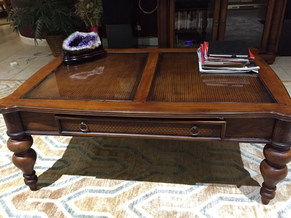 Used Ashley Furniture Serengeti Collection Center Table And Matching - Ashley center table