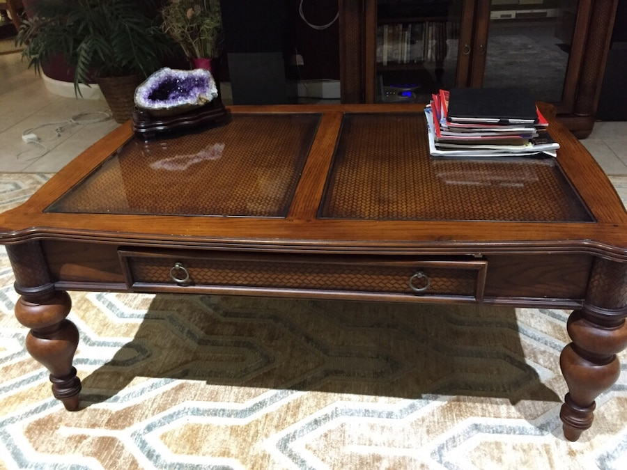 Great Ashley Furniture Serengeti Collection Center Table And Matching Side Tables  Good Condition In West Palm Beach   Letgo