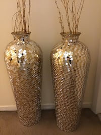 "New set of 2 vases  30"" tall large gold silver mosaic  free bamboo sticks message me if you interested pick up in Gaithersburg Maryland 20877 all sales final Gaithersburg, 20877"
