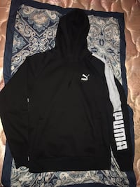 black and white Puma pullover hoodie