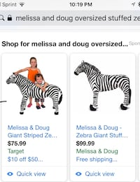 Melissa and Doug rideable Zebra 68 km
