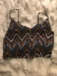women's purple, white, black, and brown sleeveless crop top Centreville, 20121