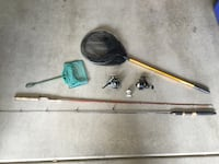 2 Fishing Rods, 3 Reels and 2 Nets for sale!