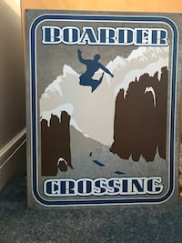 blue and brown Boarder Crossing poster