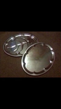 2 thick and sturdy metal serving trays w beautiful etching!