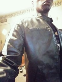 Used Black and White leather Motorcycle jacket Cowpens, 29330