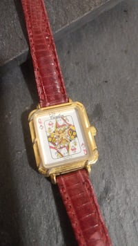 gold-colored analog watch with red leather strap Mississippi Mills, K0A 1A0