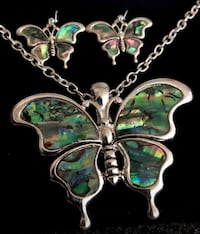 Butterfly abalone earrings & necklace