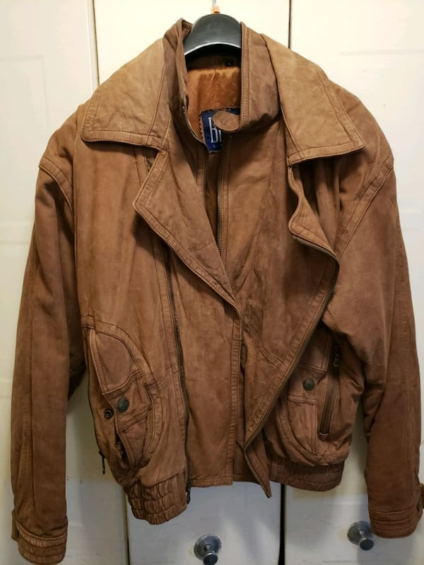 Men's Brown Leather Jacket (Beyond) double-breaste b4a60f67-dc2c-4700-bdad-a91f489e5023