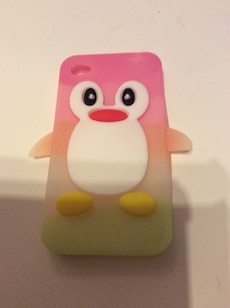Rosa hvit gul og grønn penguin iphone case til IPhone 4