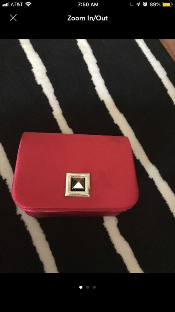 red and white leather crossbody bag