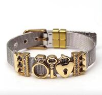 Super cute mesh bracelet gold silver stainless steel heart love  Edmonton, T6K 0R2