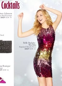 Belle Badgley Mischka Sequined Sheath Party Dress Christmas Flowood, 39232