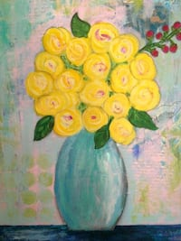 "Acrylic Canvas Painting - ""Bright Yellow Flowers Vase"""
