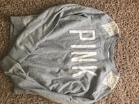 gray and white Pink by Victoria's Secret sweater