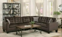 Chocolate Classic Sectional with Pillows   1211 mi