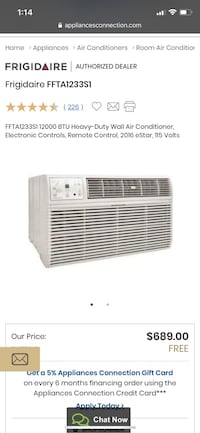 Frigidaire wall mounted A/C