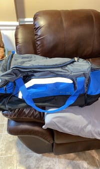 Large blue gray and black duffle  Media, 19063